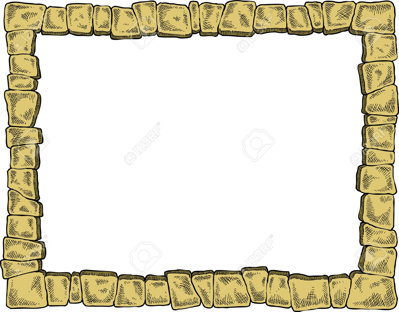 Frame With Stones On A White Background Vector Illustration Royalty ...