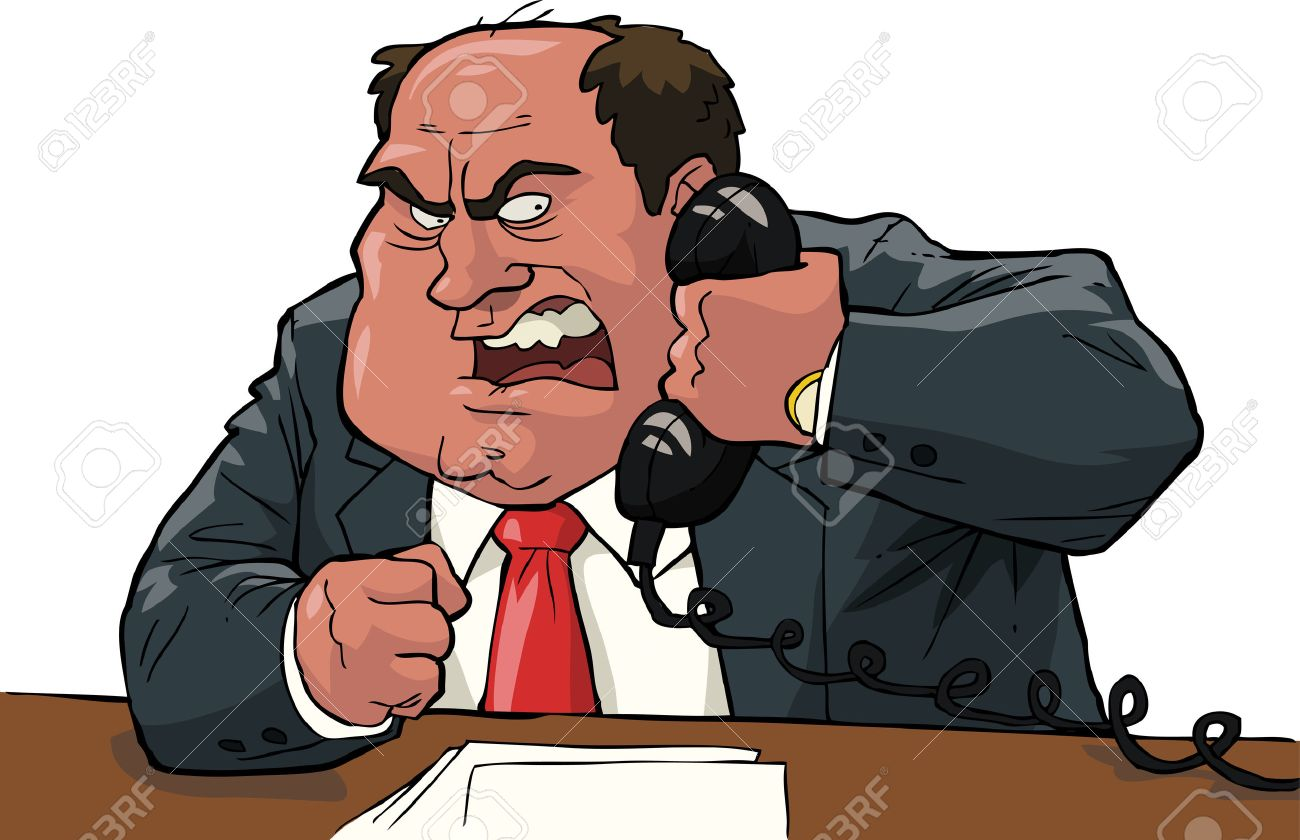 Angry boss shouting into the phone vector illustration - 42133607