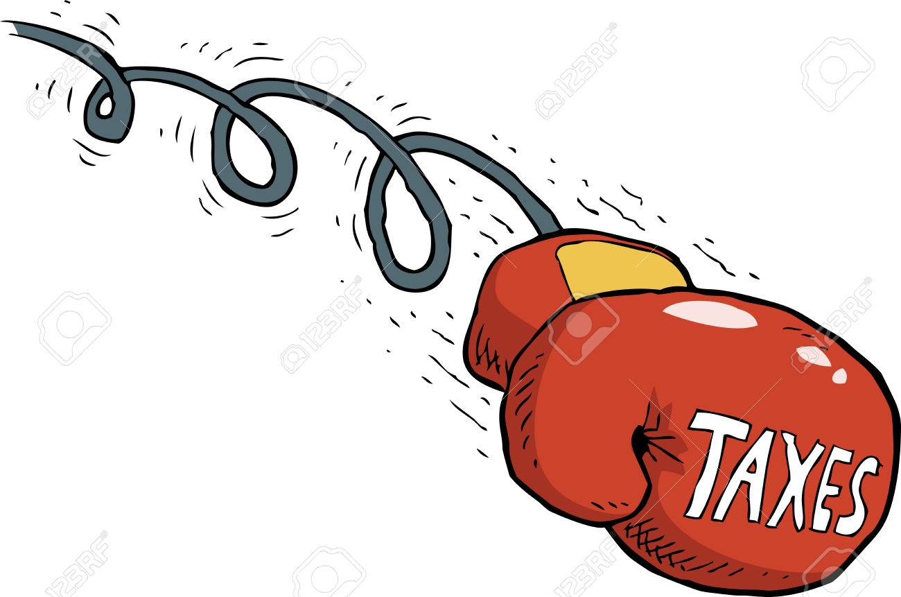 cartoon tax blow boxing gloves vector illustration royalty free