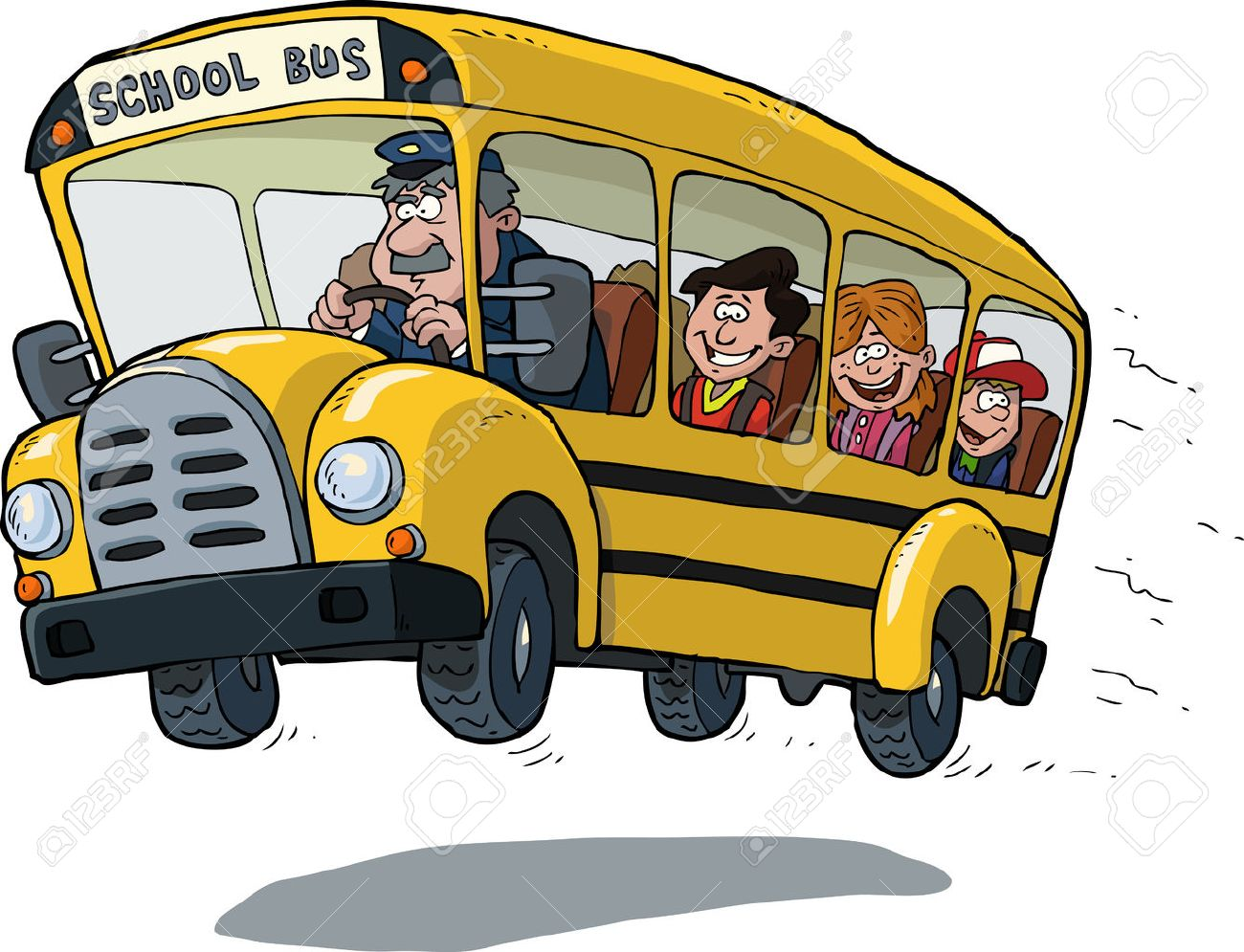 白い背景ベクトル イラスト上の学校のバス ロイヤリティフリークリップ