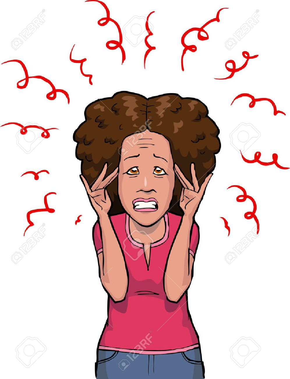 Woman in stress on white background vector illustration - 48864022