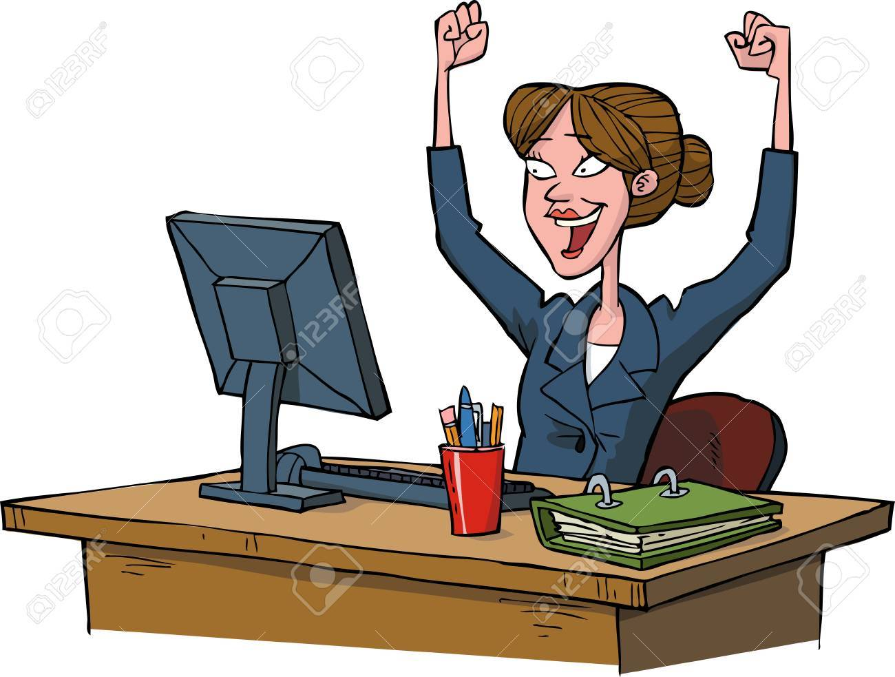 Business woman rejoices at a computer vector illustration - 52020502
