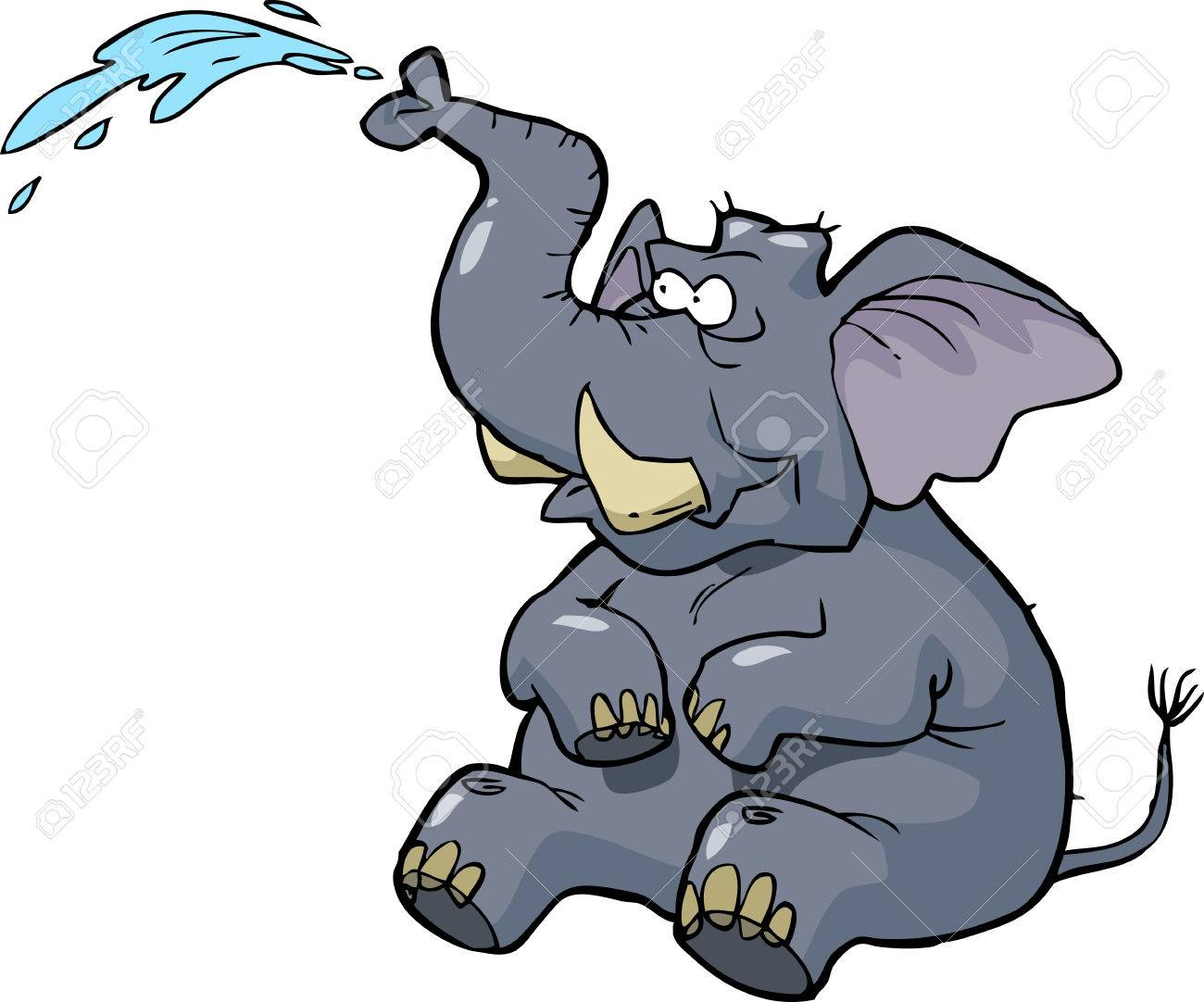 Cartoon elephant squirting water on a white background vector illustration - 52020515