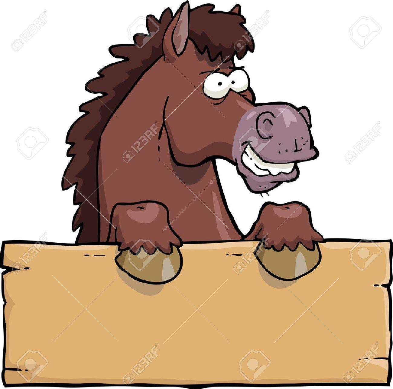 Cartoon horse head with a board vector illustration - 52987609