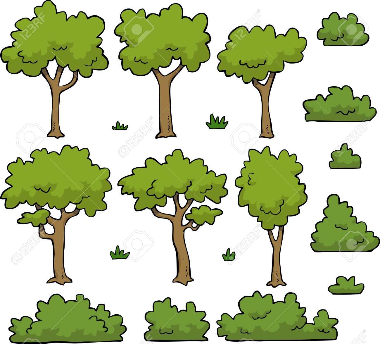 Cartoon doodle set trees and bushes vector illustration - 52987681