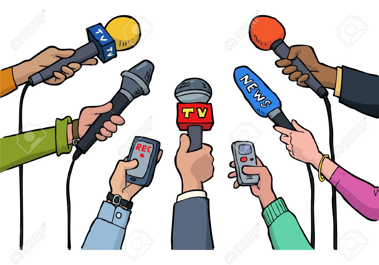 Cartoon media interview on a white background vector illustration - 52987727