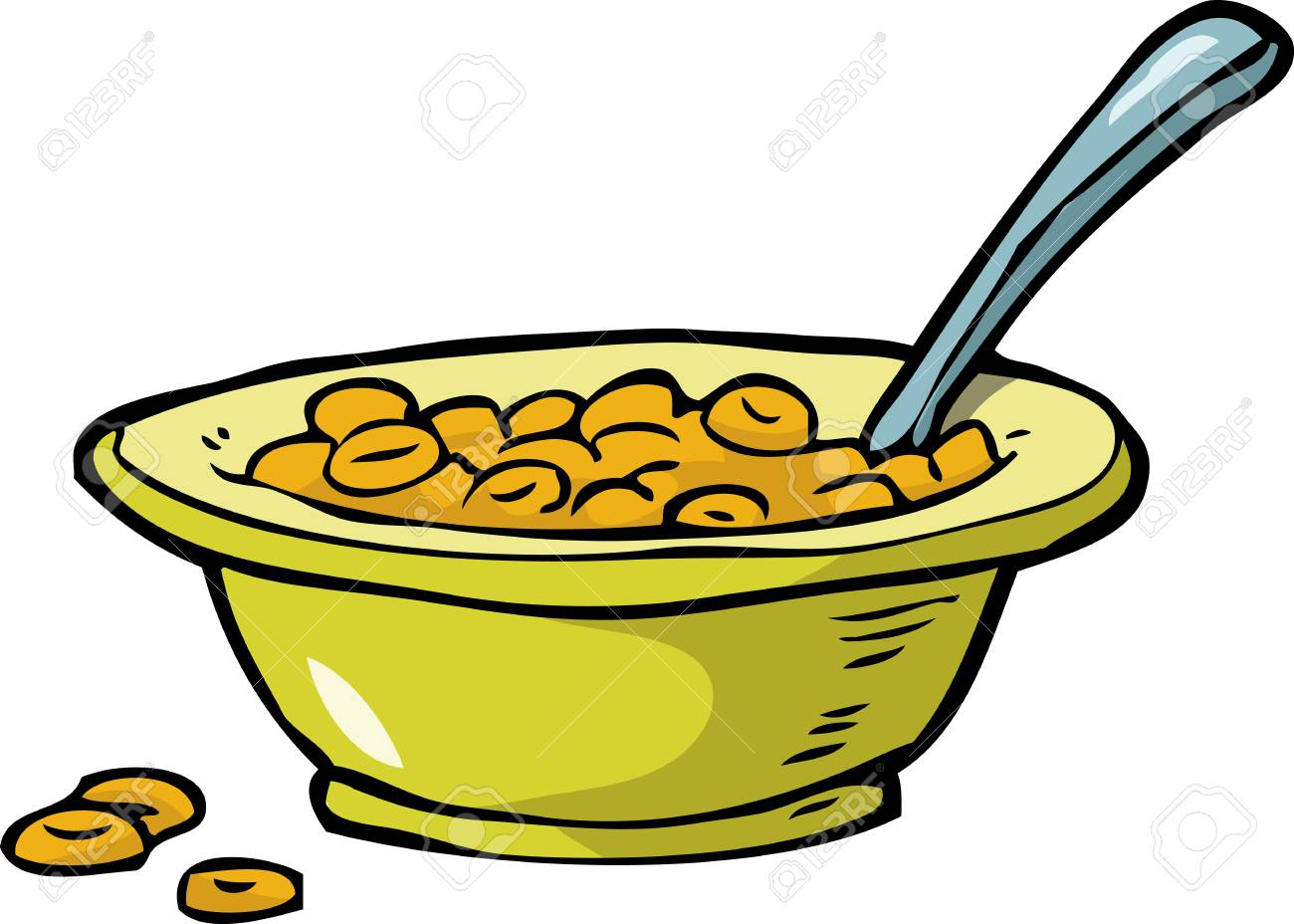 Plate of cereal on a white background vector illustration - 98871767