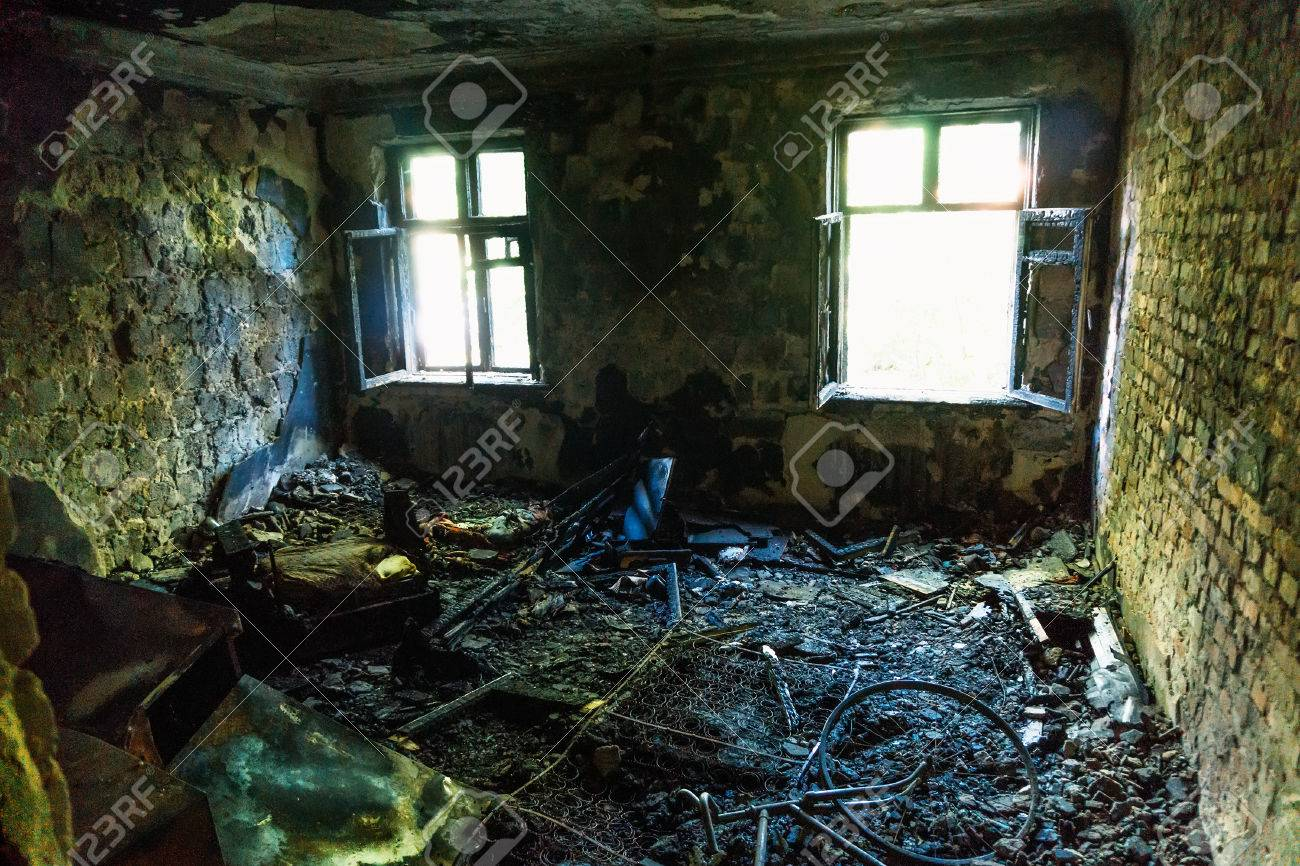 Interior Of The Burned By Fire House, Burned Furniture Stock Photo    80676932