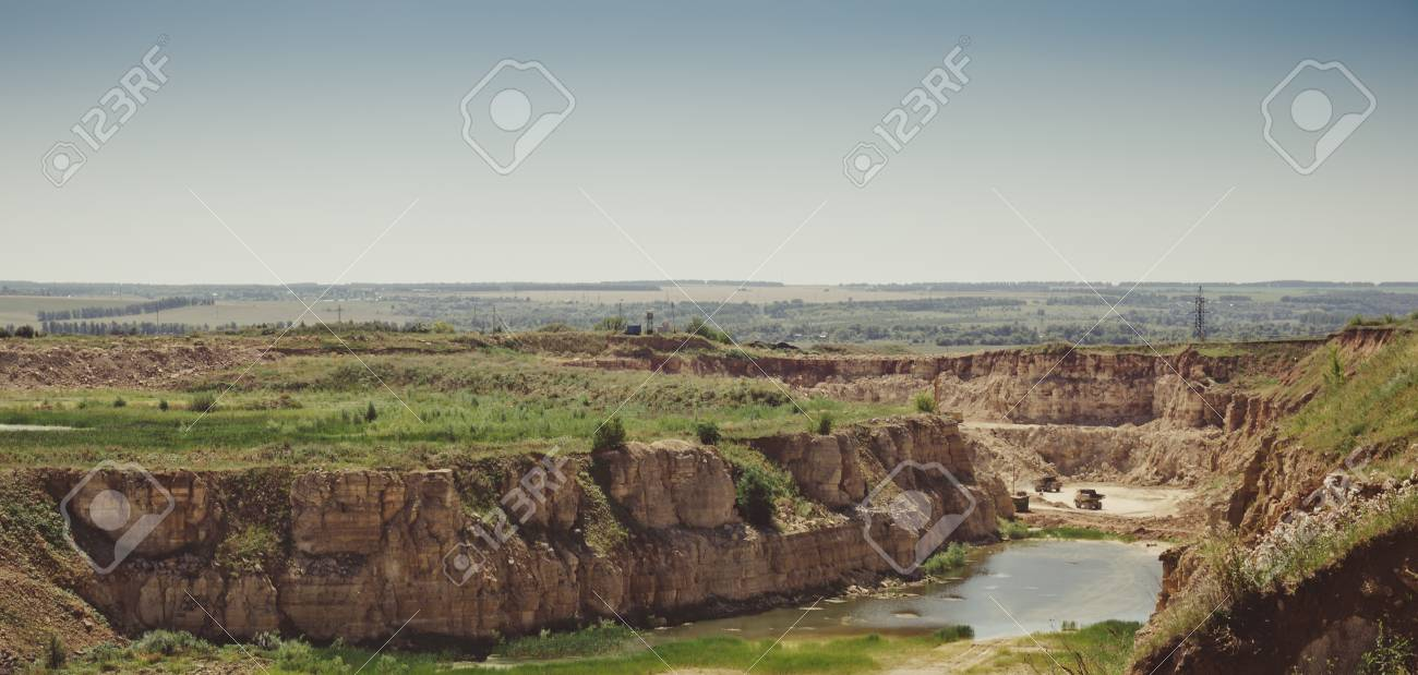 Panorama of limestone mining quarry in Eletz, Russia, toned