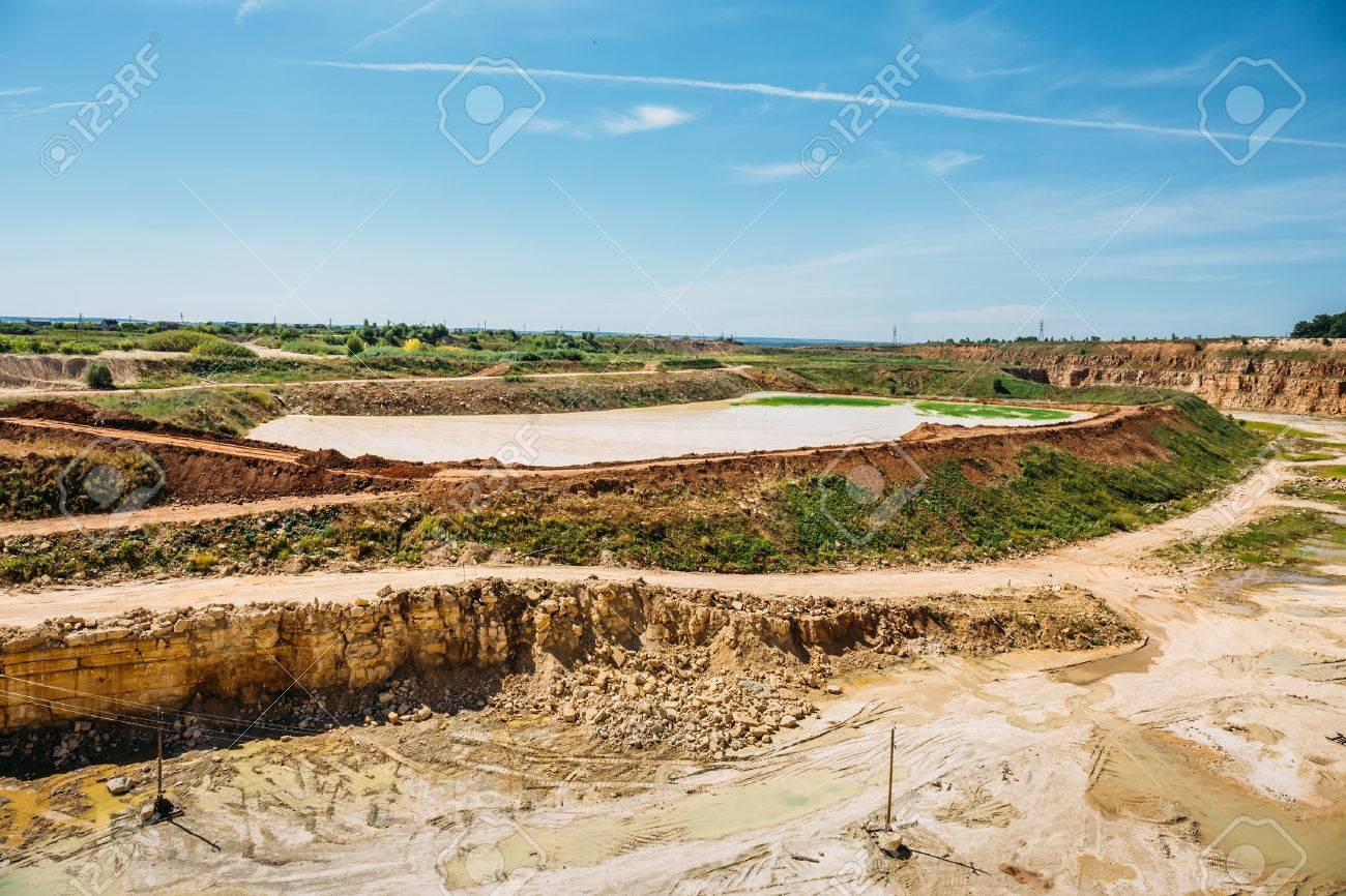 Open cast limestone mining quarry landscape