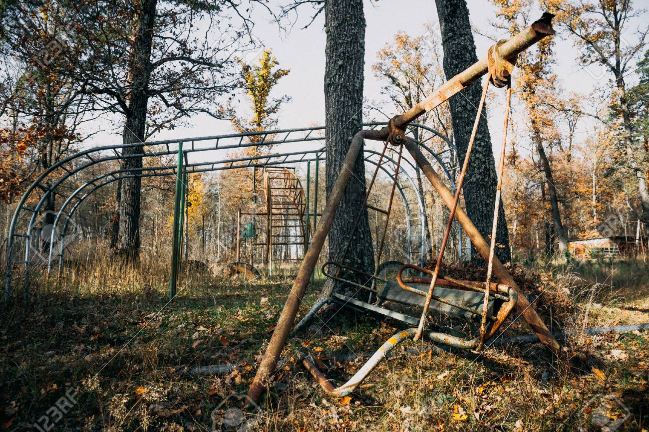 Creepy Abandoned Children Playground Among Autumn Trees Rusty Stock Photo Picture And Royalty Free Image Image 89626202