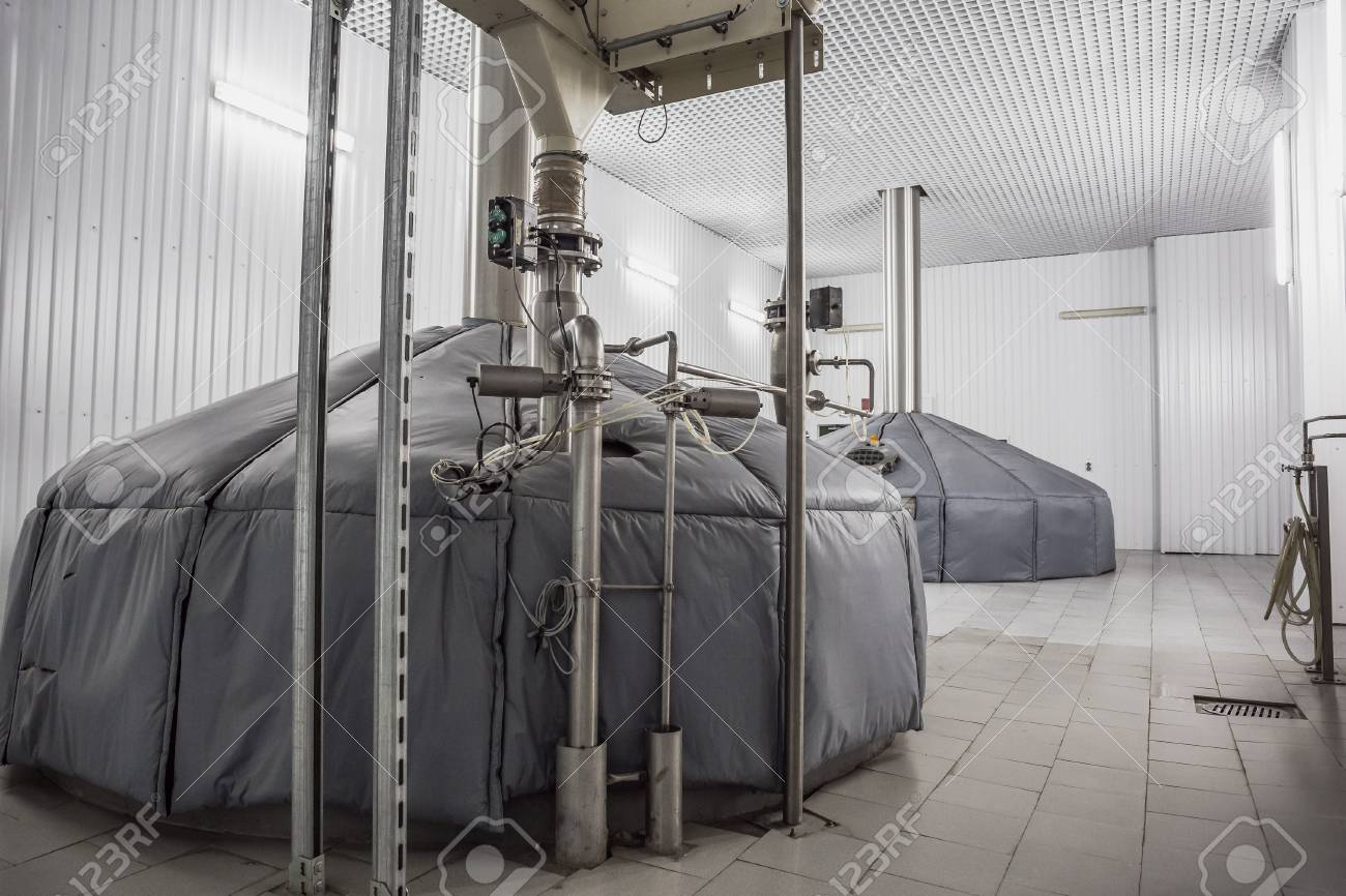 Brewing Production, Mash Vats At Modern Beer Factory Stock Photo   95896735