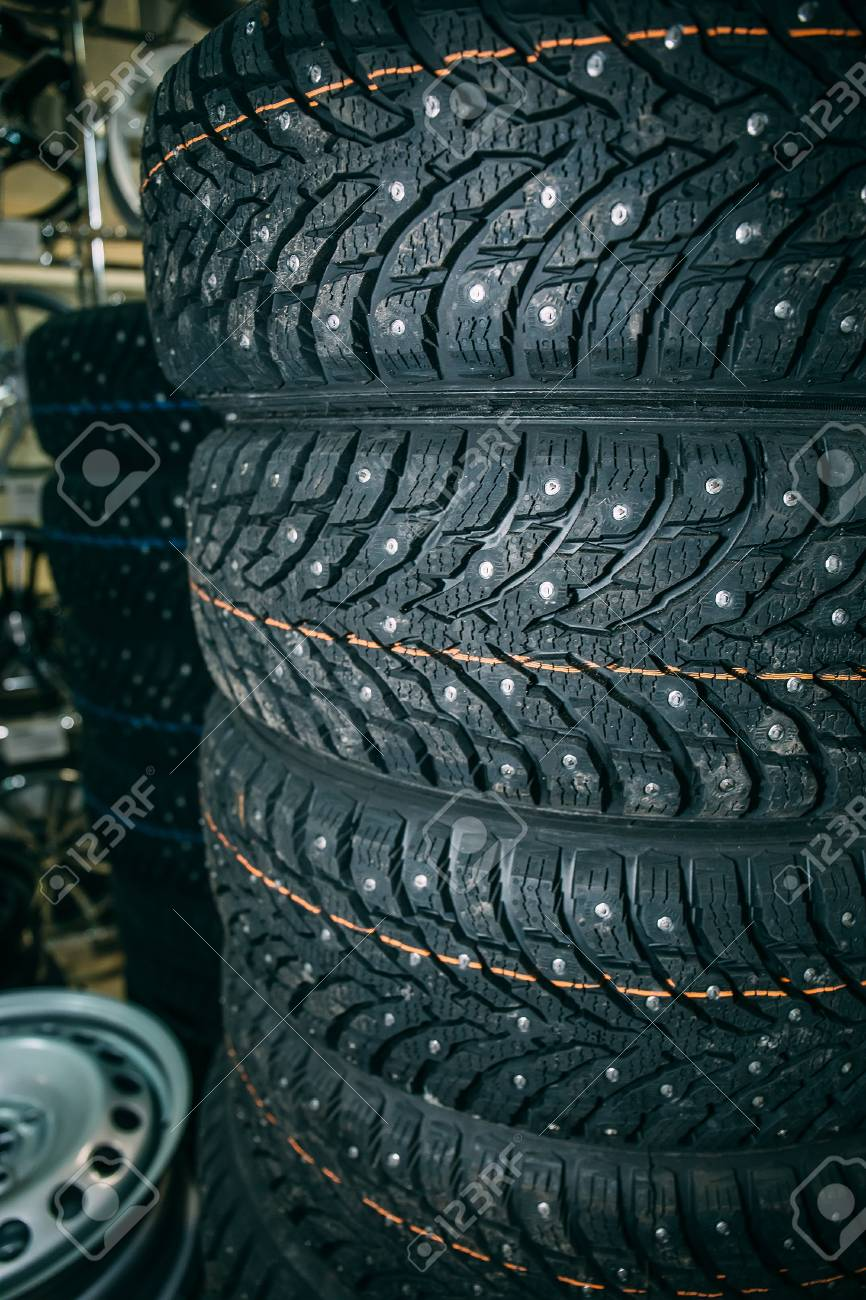 Winter Tires For Sale >> New Winter Tires In Shop Or Store For Sale Close Up Stock Photo