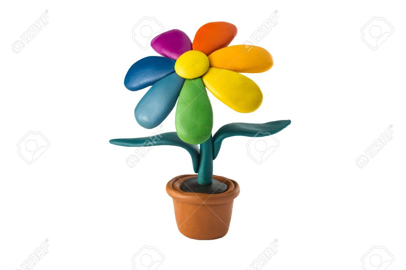 Plasticine colorful flower in a brown pot Stock Photo - 19067376