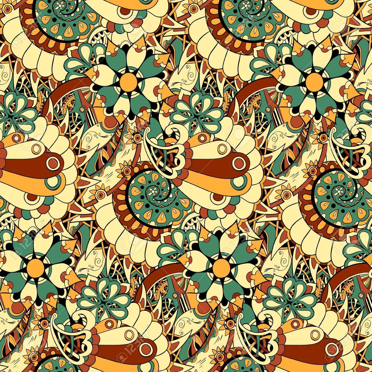 Web ページの背景テクスチャ パターンの塗りつぶし壁紙花機構スチーム パンクなシームレスなベクトル パターンを使用できます のイラスト素材 ベクタ Image
