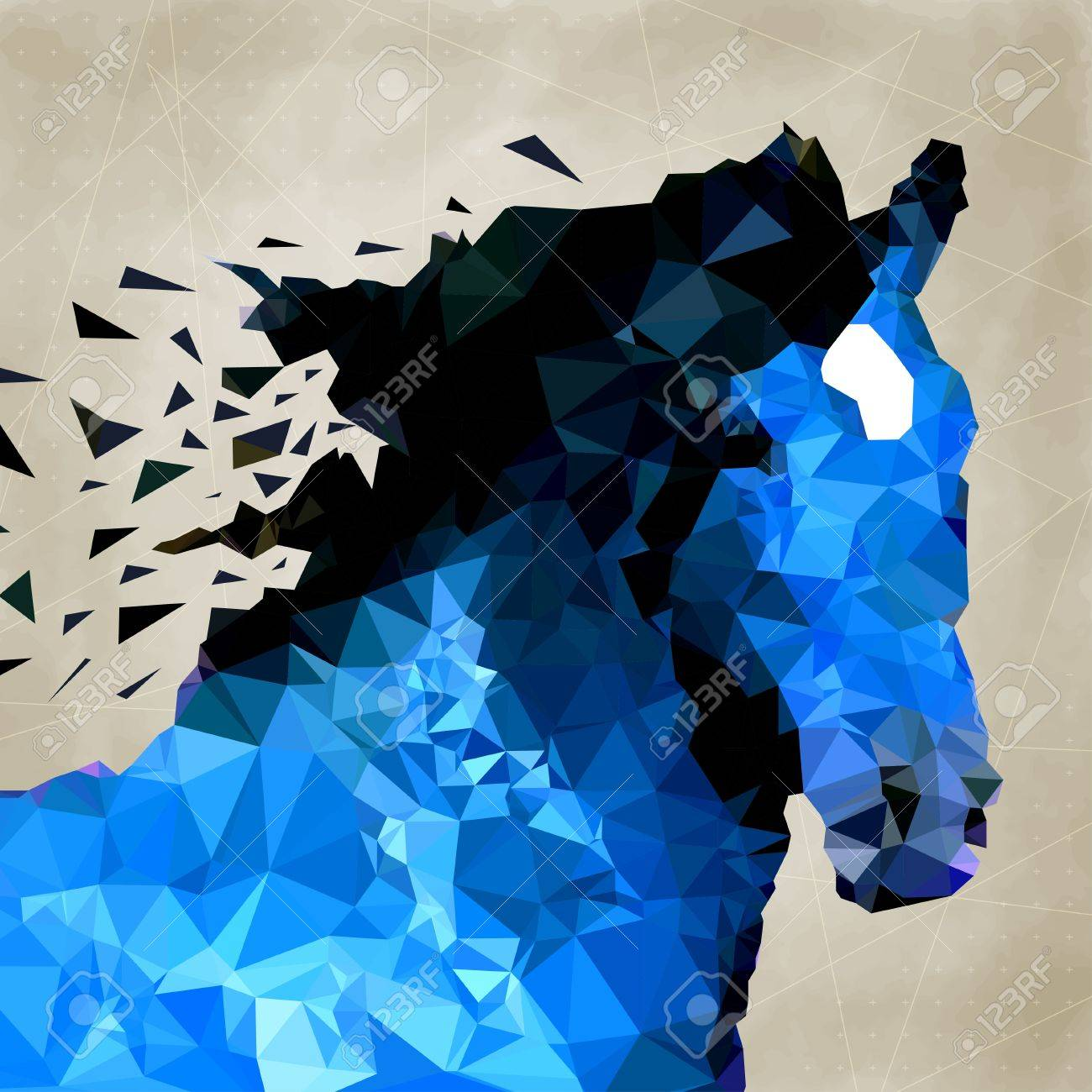 Vector triangle abstract horse of geometric shapes. Sign of the blue horse. Stock Vector - 23012149