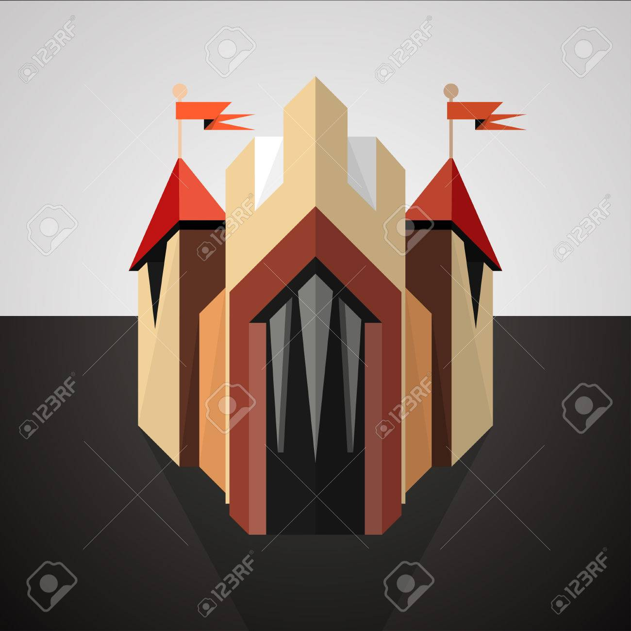 Illustration of a cartoon castle icon with red flags drawn in perspective on dark landscape Stock Vector - 24442043