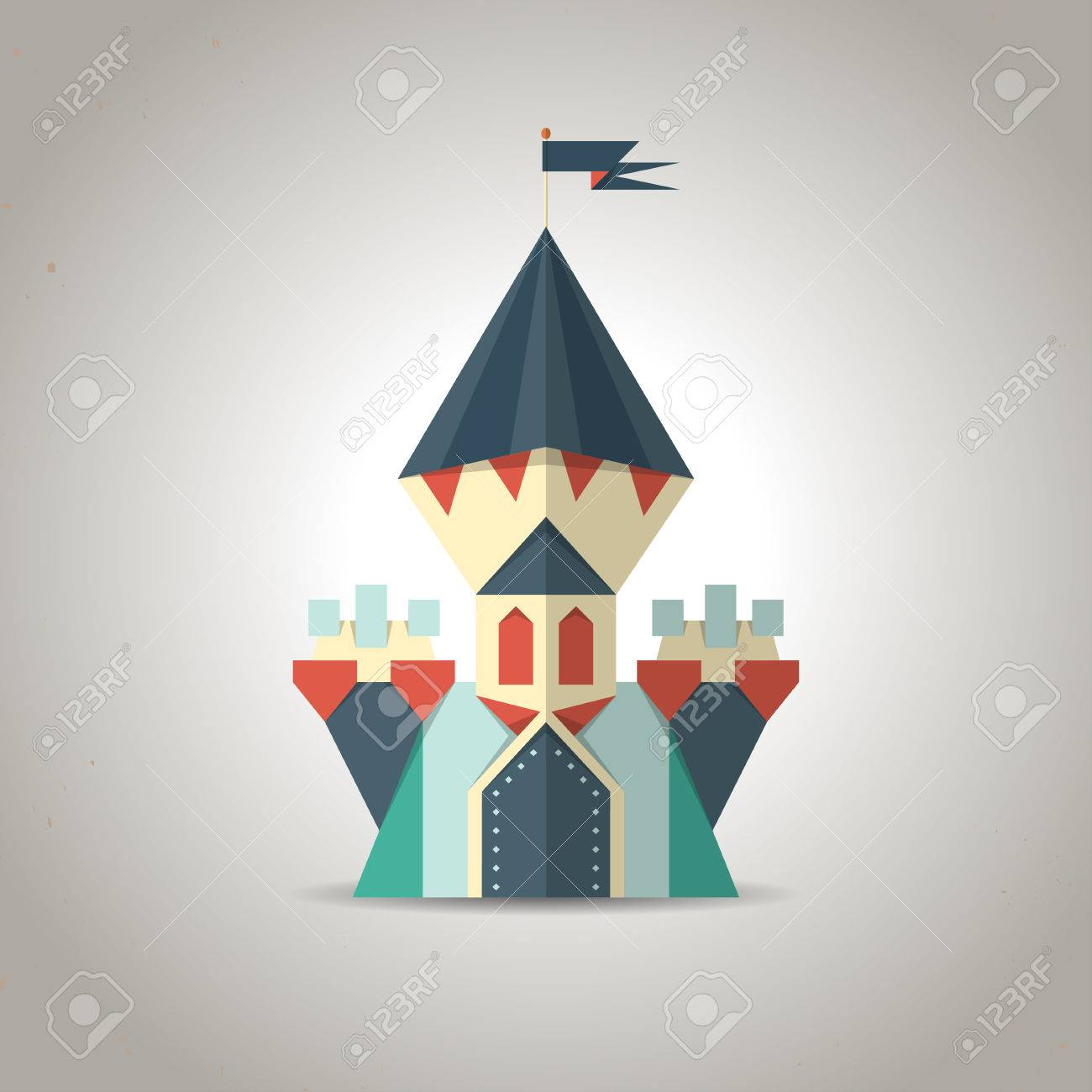Illustration of a cute origami castle icon made from folded paper in the Japanese tradition Stock Vector - 24637019