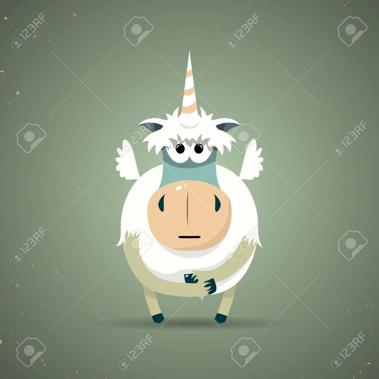 Cartoon illustration of a cute little mythical magic unicorn with a spiral horn and white body symbolic of virginity, chastity and purity Stock Vector - 25120182