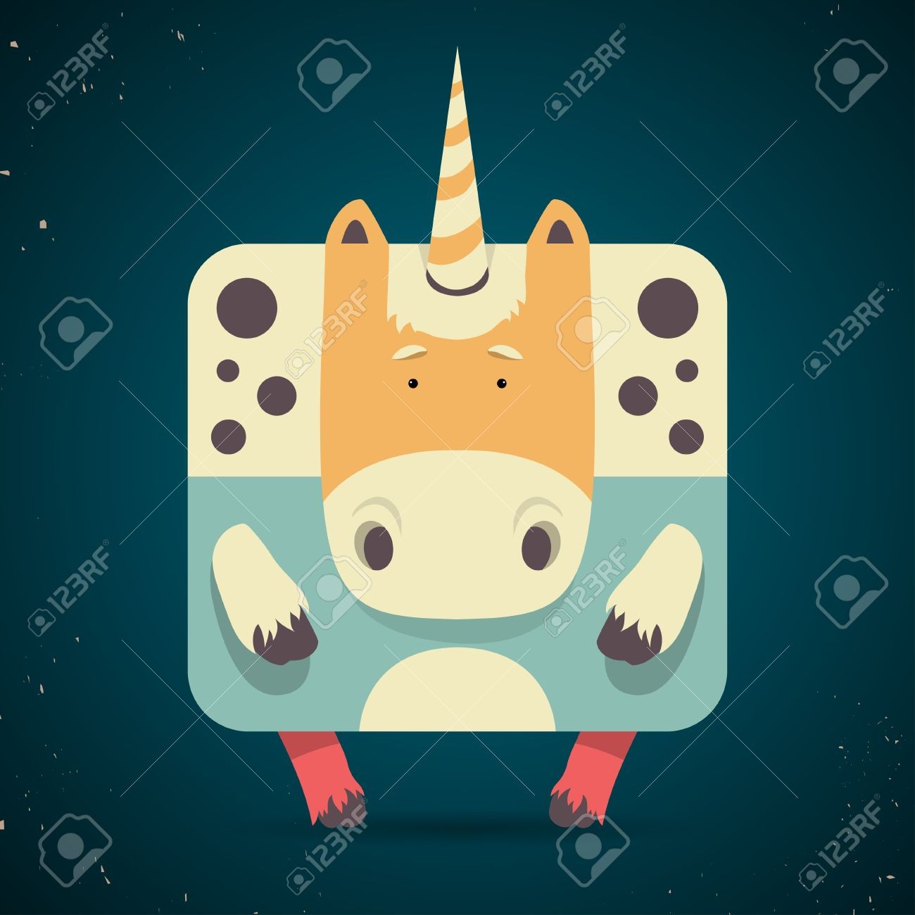 Cartoon illustration of a cute little mythical magic unicorn with a spiral horn and square body symbolic of virginity, chastity and purity Stock Vector - 25120184