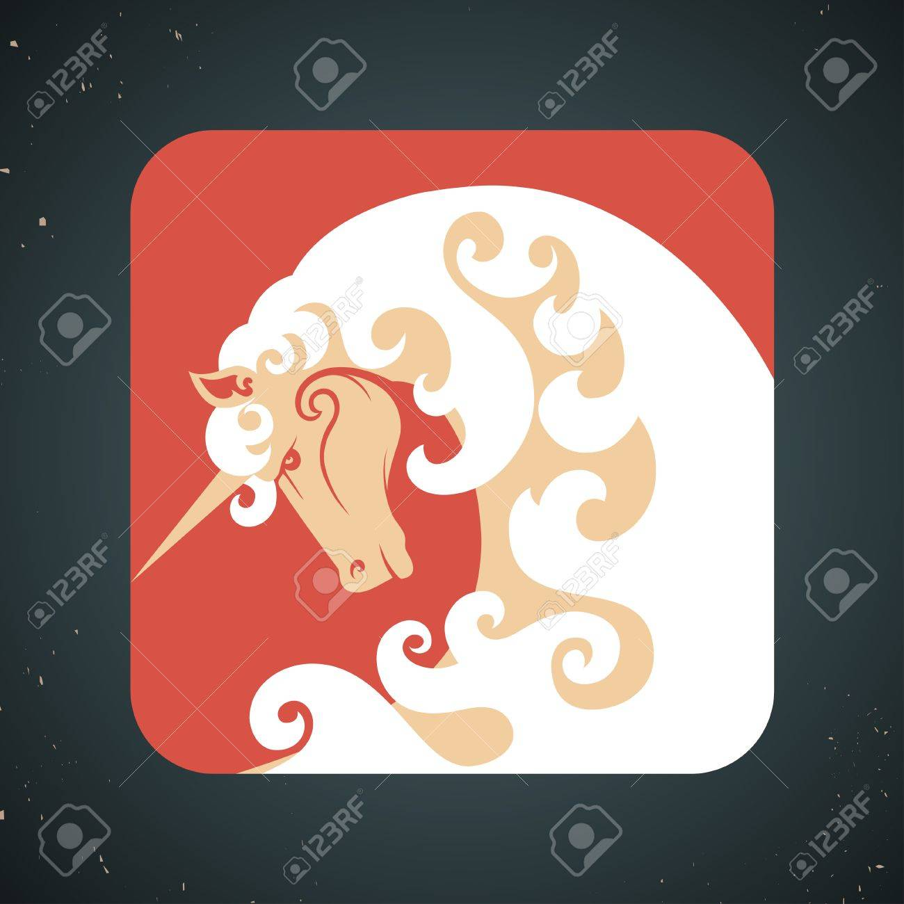 Icon of a ornate mythical magic unicorn with a white horn and mane symbolic of virginity, chastity and purity Stock Vector - 25357089