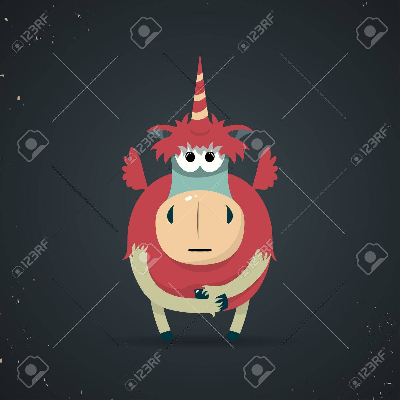 Cartoon illustration of a cute little mythical unicorn with a spiral horn and red body symbolic of virginity Stock Vector - 25357205