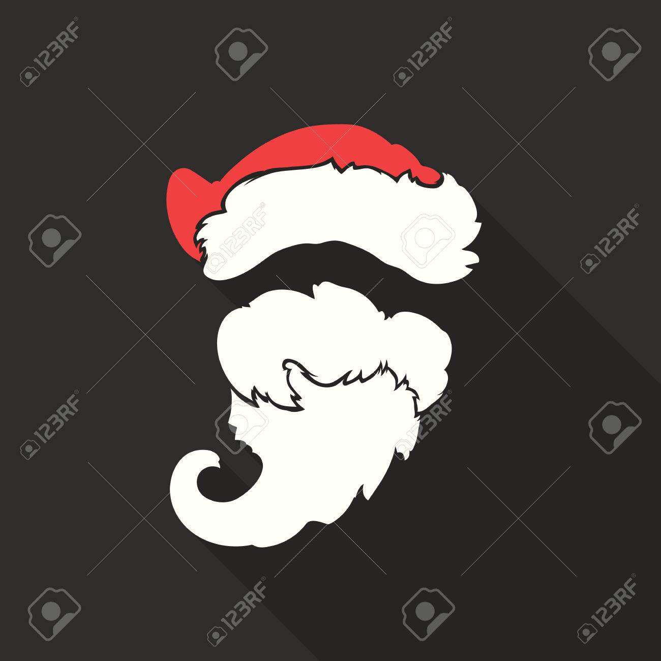 7d5ecb722d1 Flat Design Vector Santa Claus Face. Hat and beard. Christmas icons with  long shadow