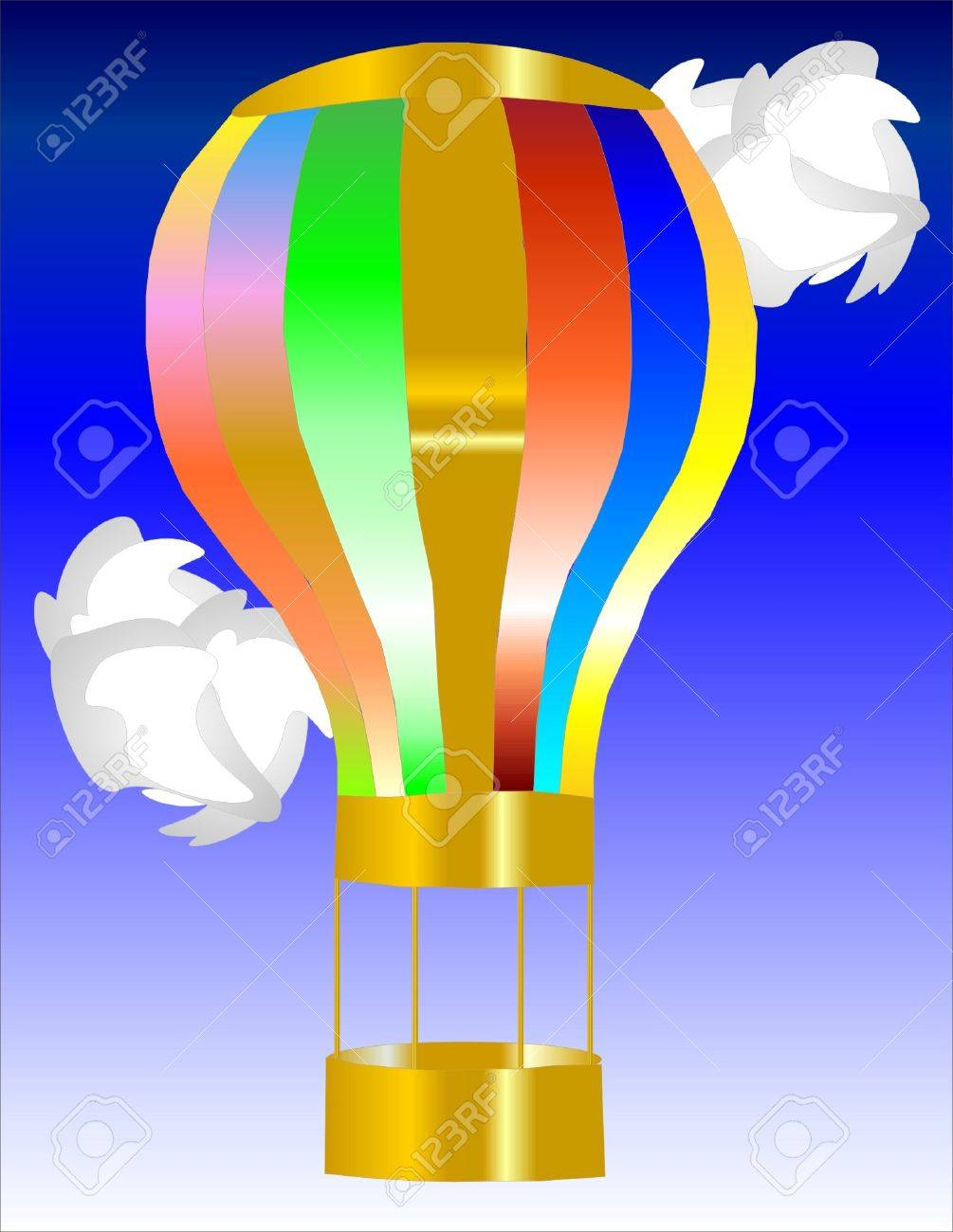Hot air ballon in the sky with clouds Stock Vector - 3651899