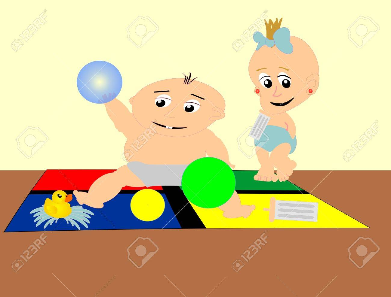 two babies having fun on a play mat Stock Vector - 4015379