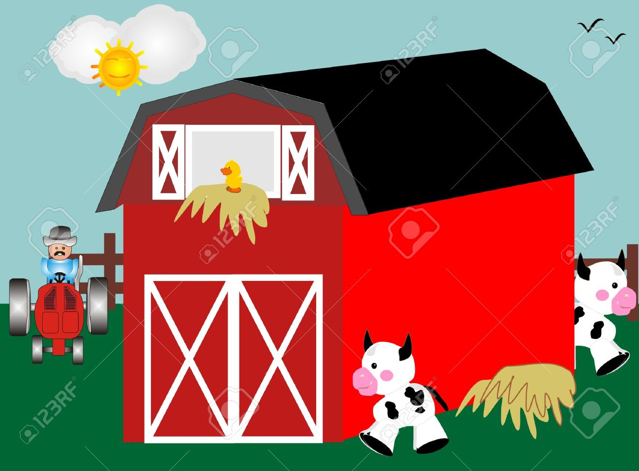 Barnyard With Red Barn Tractor And Farm Animals Stock Vector
