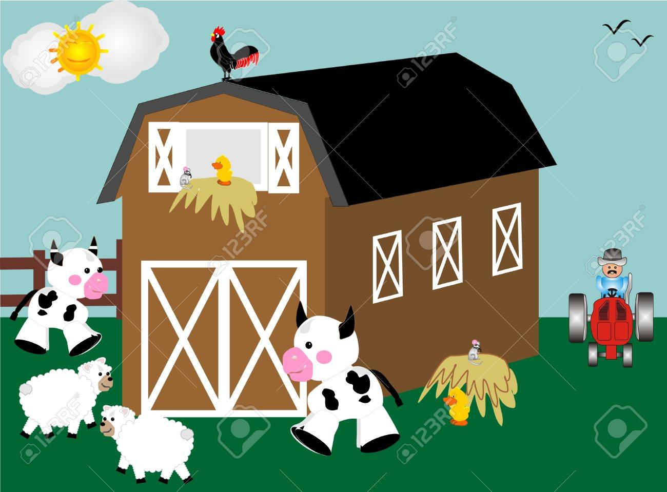 barn, tractor and farm animals in Barnyard Stock Vector - 4096326