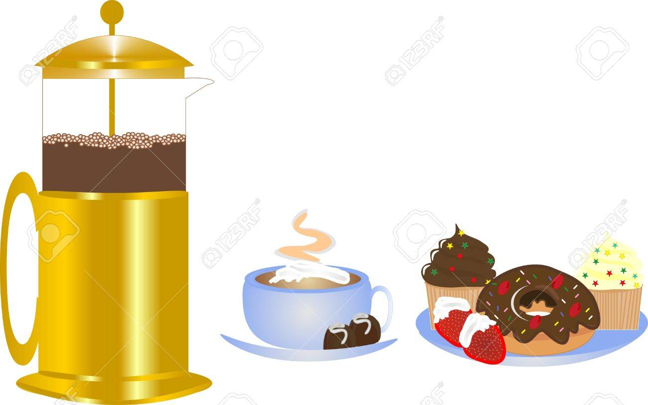 Delightful coffee from coffee press with whipped cream, served with delectable delights Stock Vector - 4153127