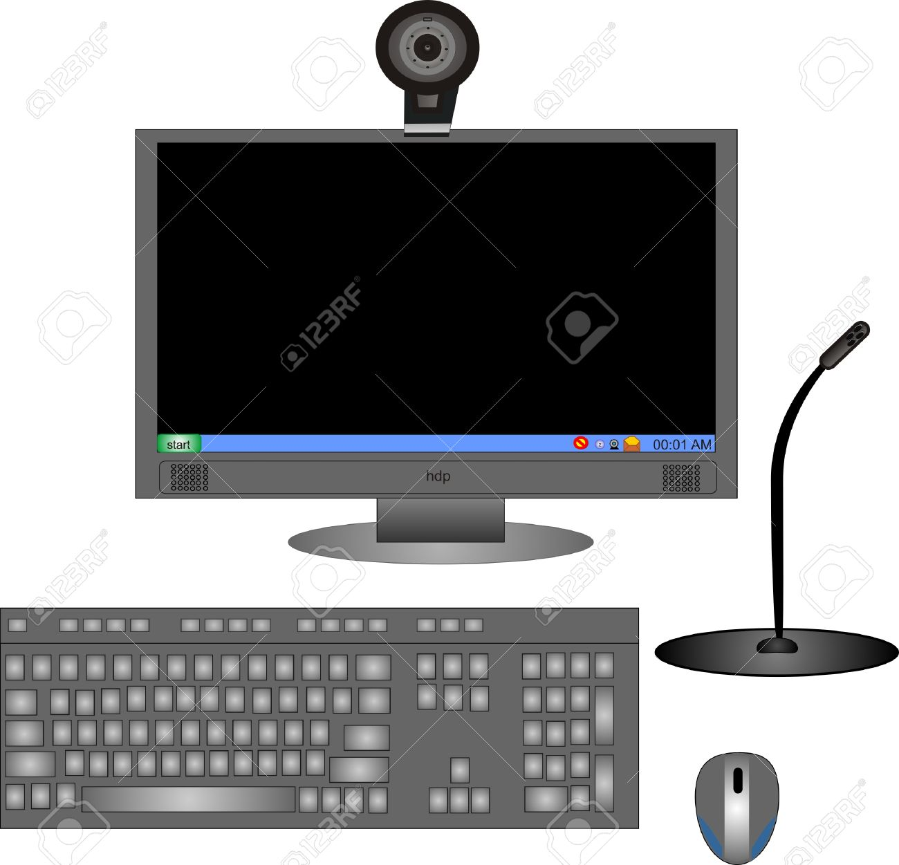 Parts Of A Complete Computer With Monitor Keyboard Mouse Royalty Free Cliparts Vectors And Stock Illustration Image 4225229