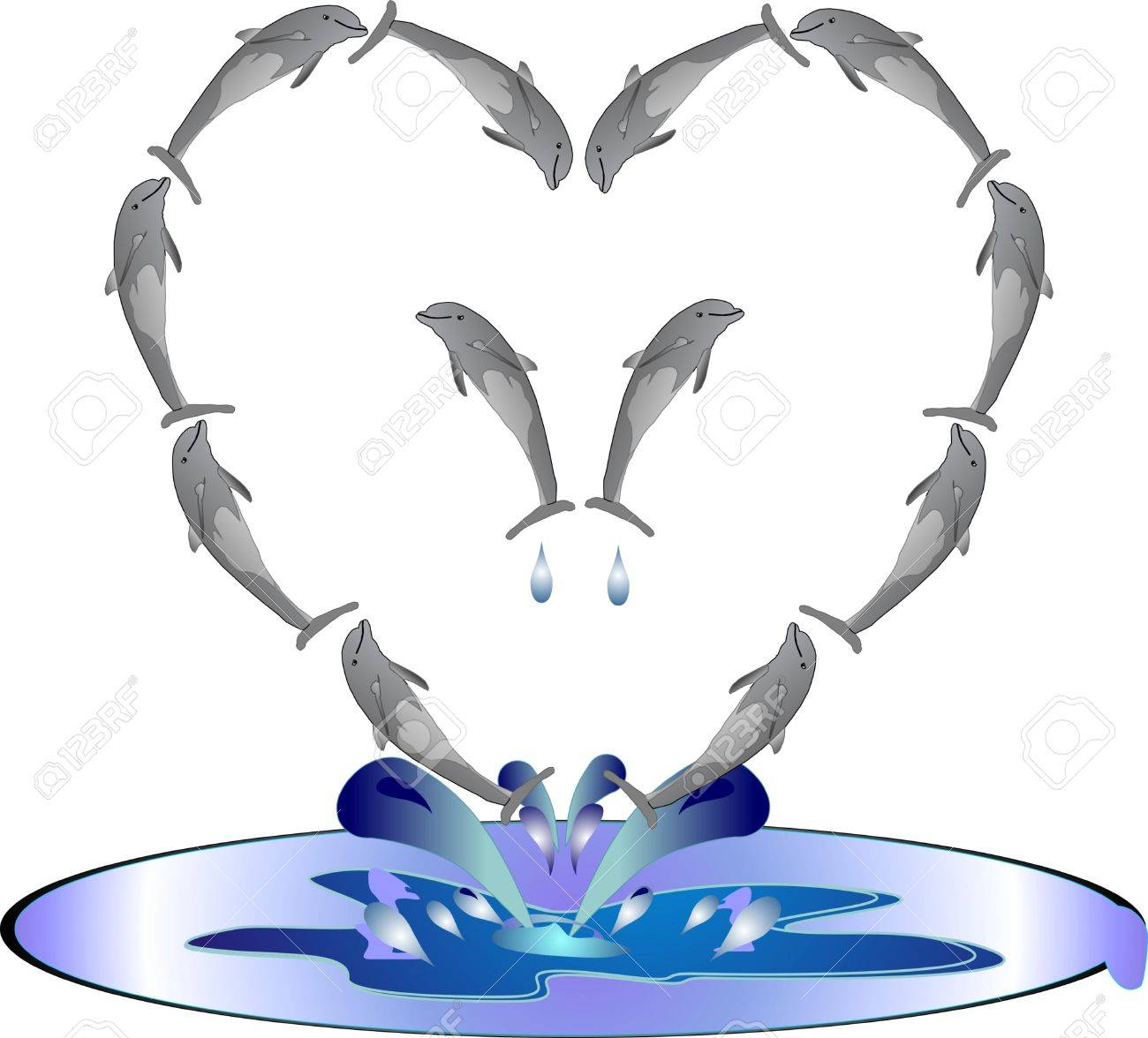Dolphins Jumping Out Of Water Clipart