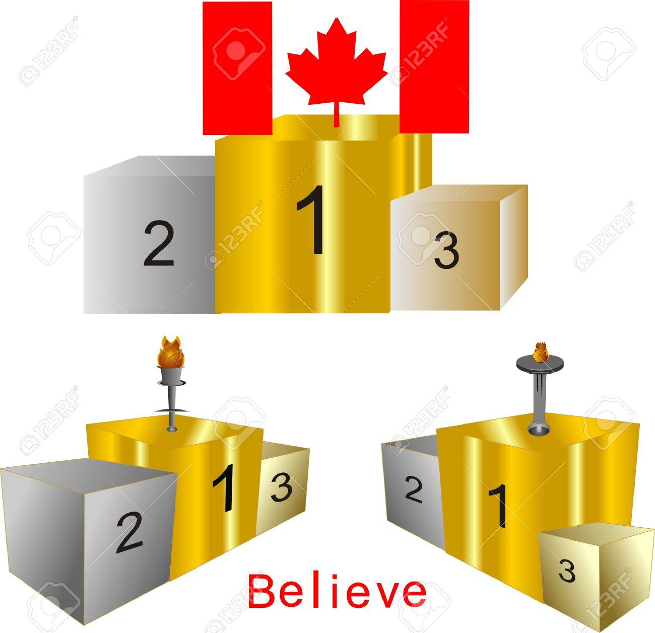 Podiums, for first, second and third place.. in gold, silver and bronze.. All winners to have competed.. Stock Vector - 4324162