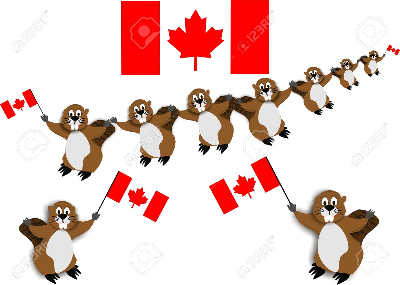 Canadian Beaver Dance with the national emblem, the beaver, carrying flags.. Stock Vector - 4384741