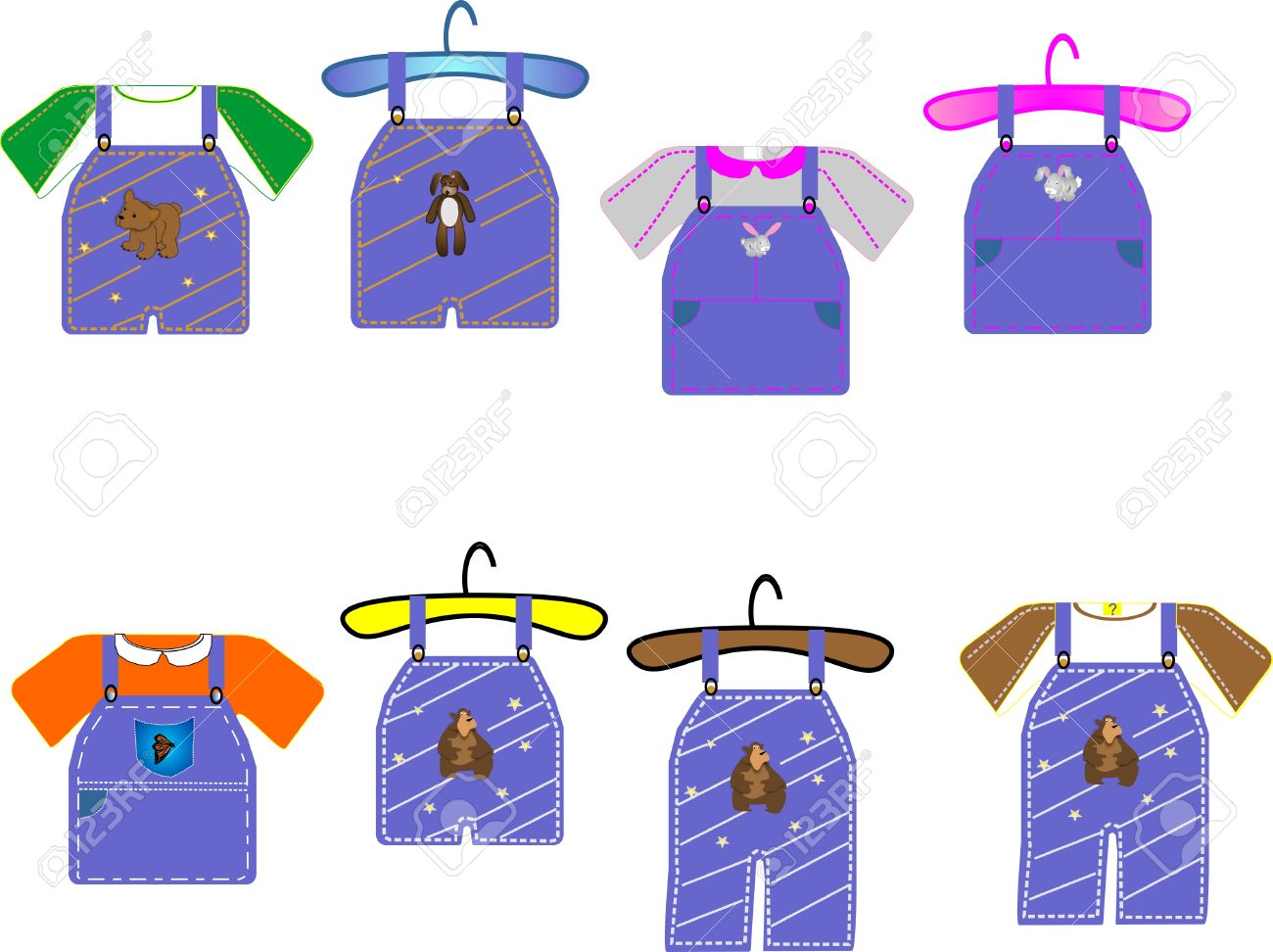 kids clothing for boys and girls great for cards clip art and rh 123rf com Girl Clip Art Clothes Clip Art Black and White Clothes