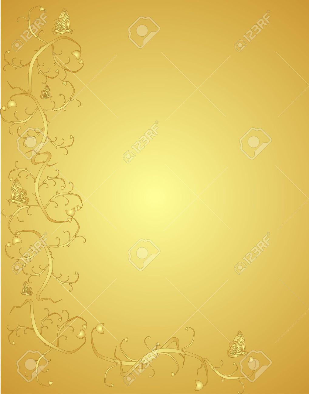 Fond Doré vignes et papillons sur un fond doré orné victoria en couleur et en