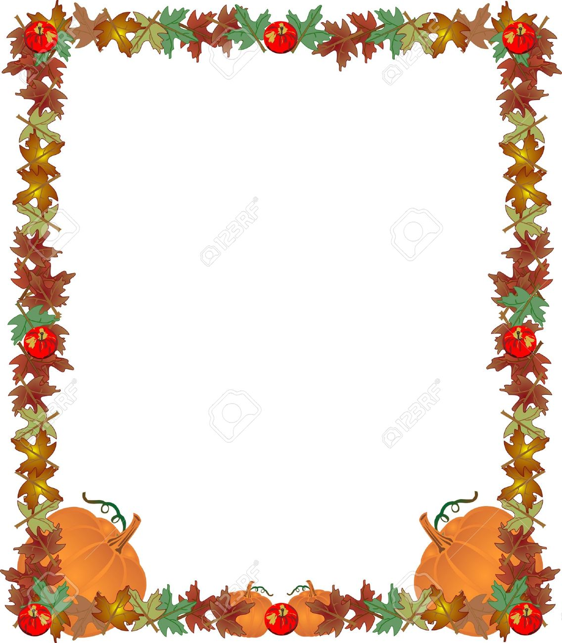 Fall Leaves, Apples And Pumpkins , Creating A Great Frame, Border ...