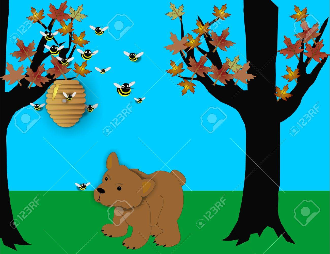 Bear looking at beehive wondering how to get some honey to eat... Stock Vector - 4503594