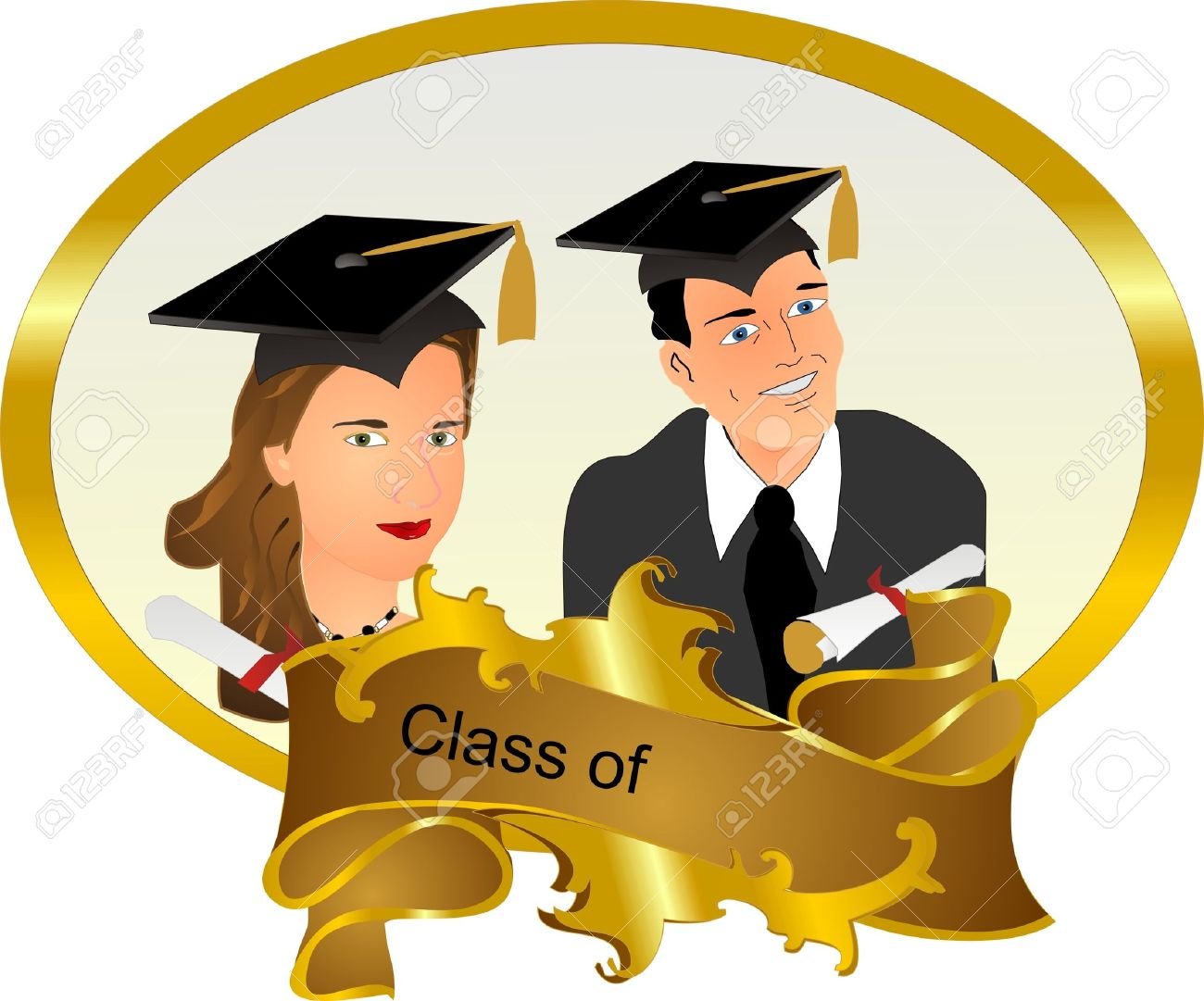 Klasse ... Abschluss Rahmen Mit Einem Mann Und Einer Frau, Mit Ihren ...