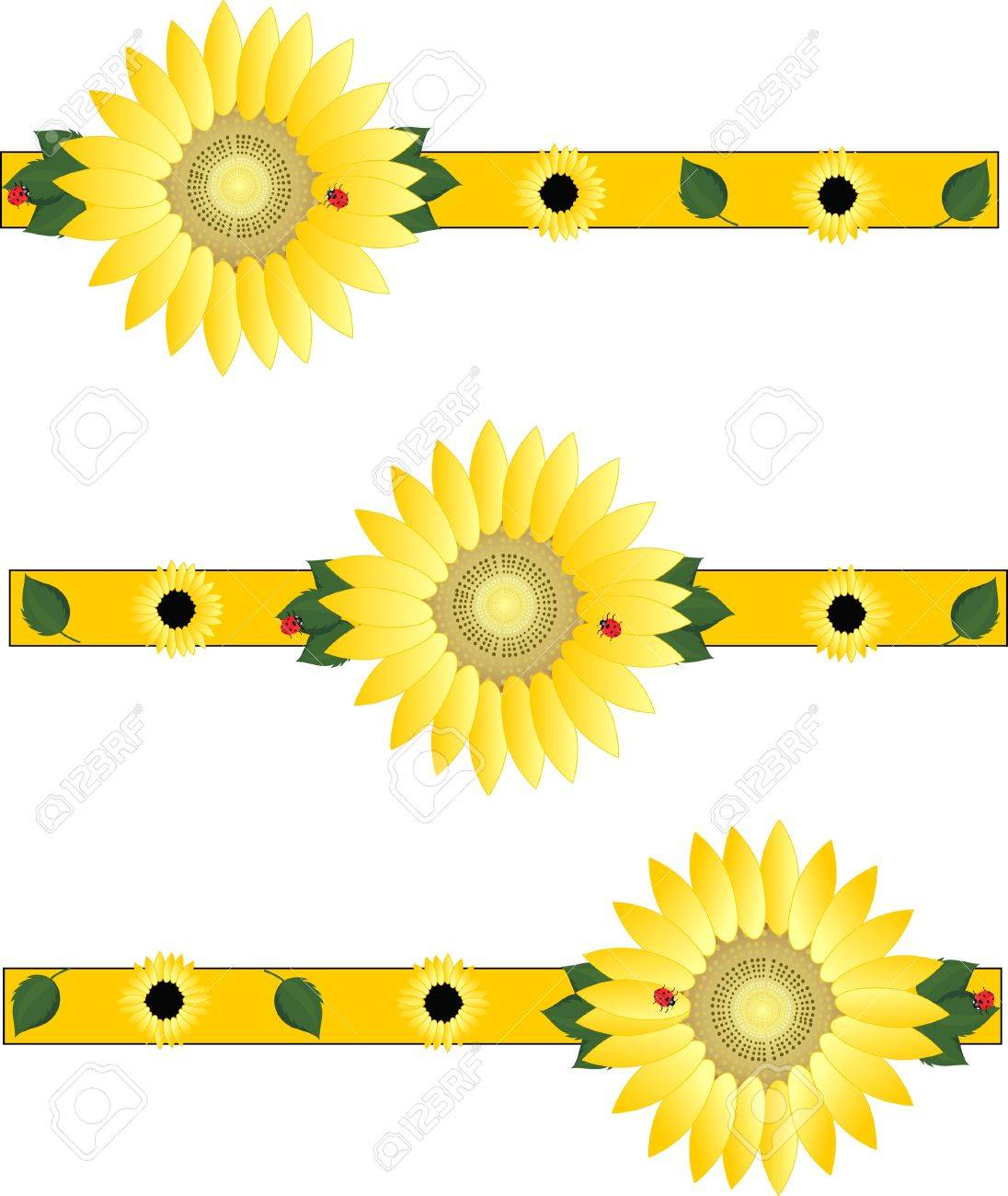 Beautiful sunflowers brightening the day... Stock Vector - 4706889