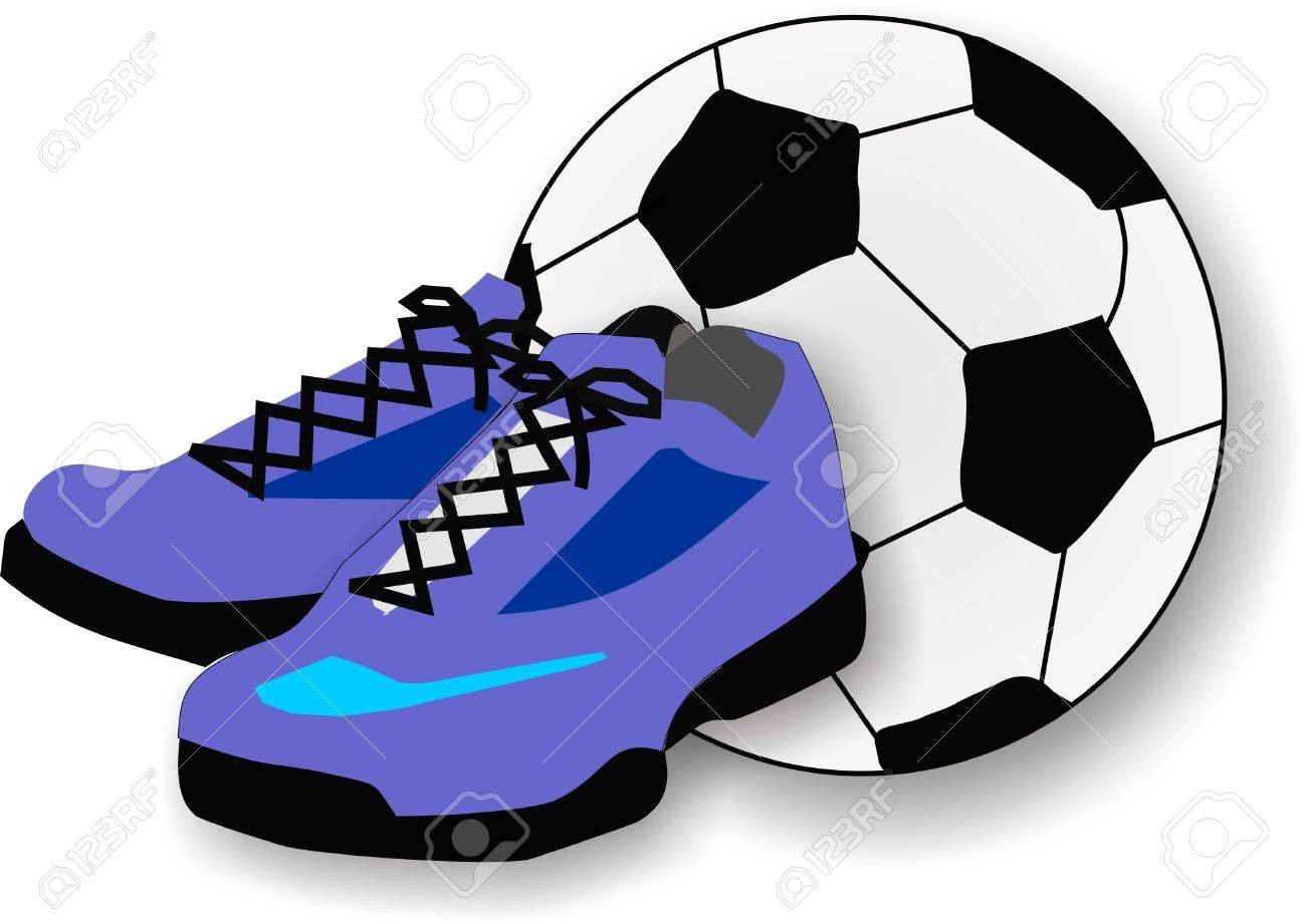 Pair Of Running Shoes And A Soccer Or