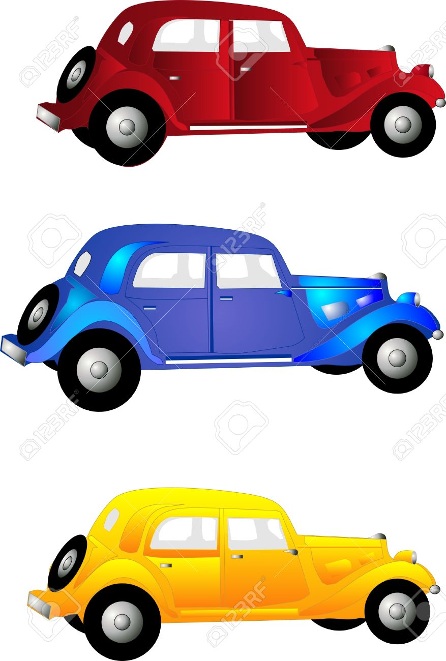 three old vintage cars in red blue and yellow for clip art and more