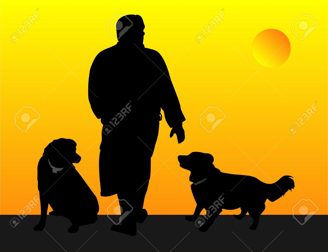 Man and his dogs, out for a evening walk illustration Stock Vector - 4893657