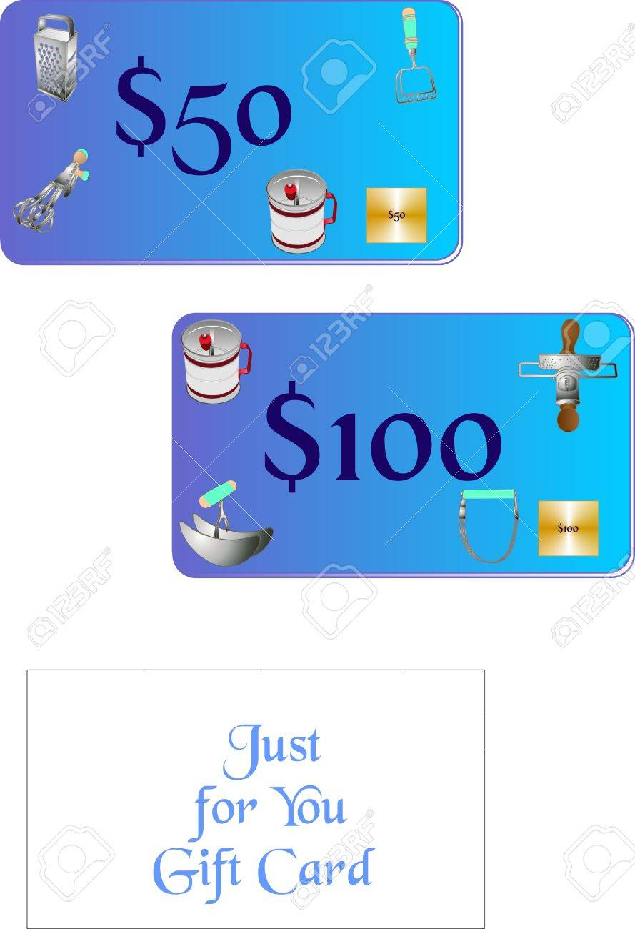Gift Card For A Kitchen Shoppe, With Retro Kitchen Tools On The Face Of Card