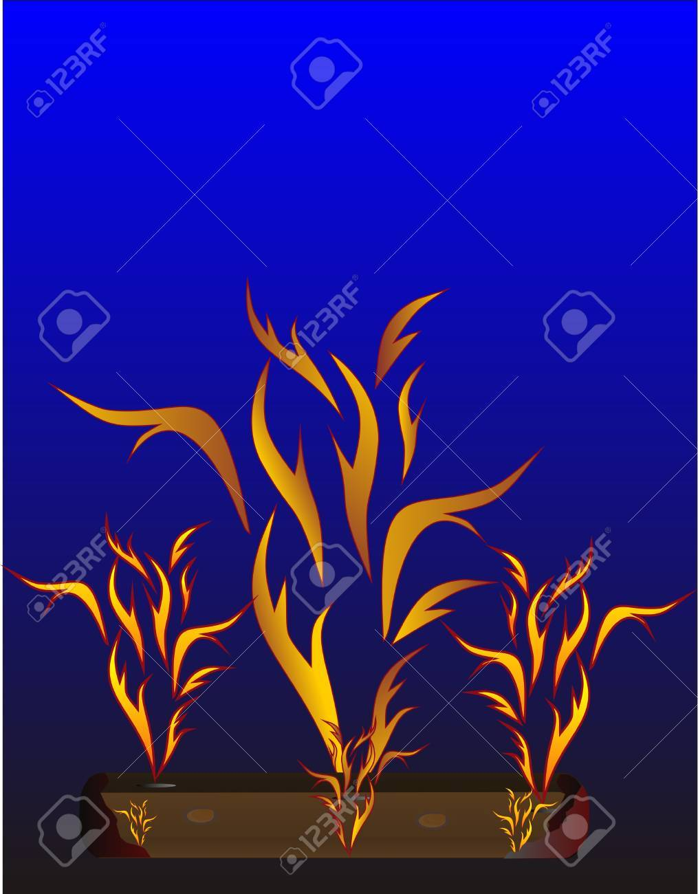 Blazing embers and flames, flowing upward in the dark of the night.. Stock Vector - 5745178