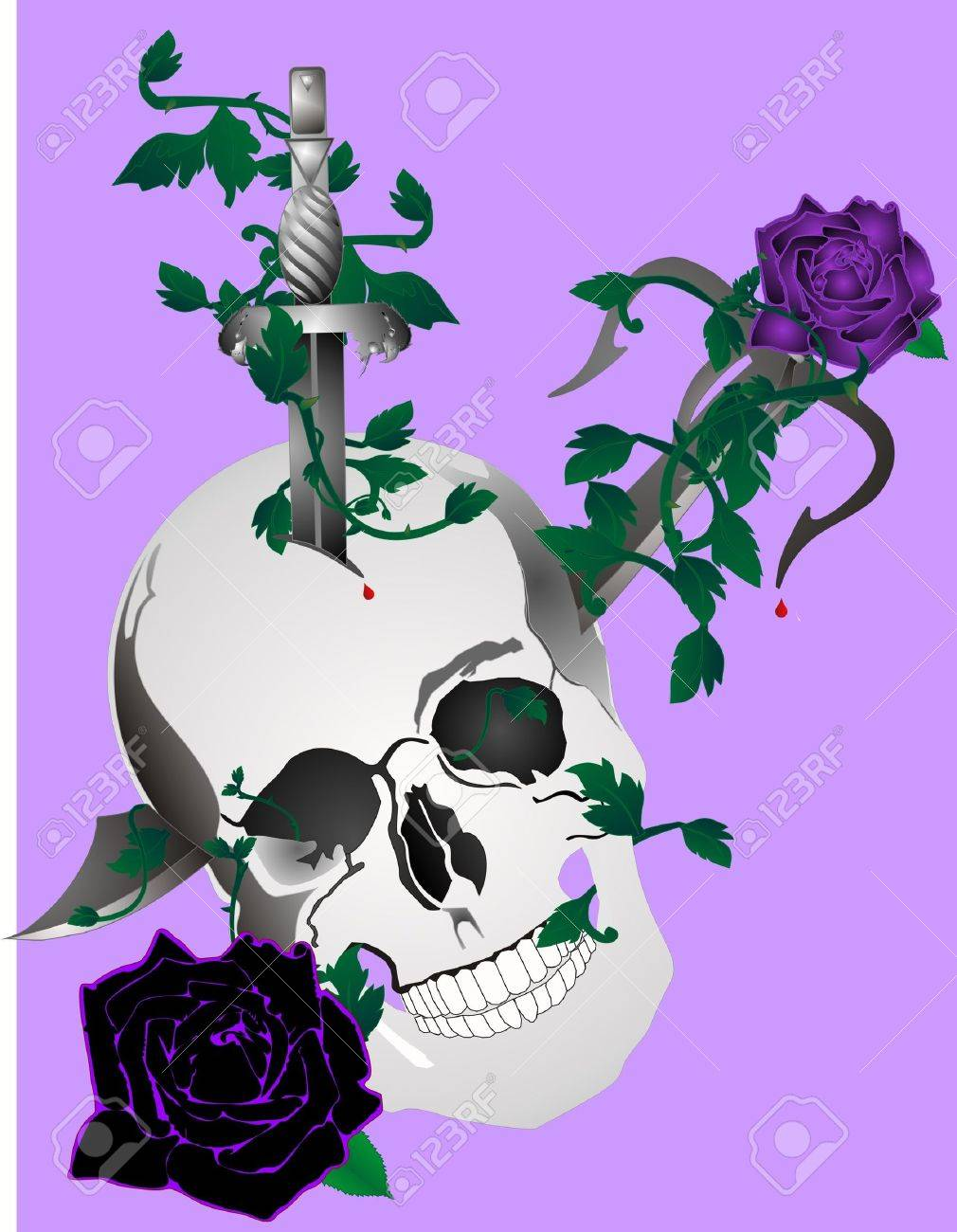 Skull with daggers and in skull with roses and vines around it... Stock Vector - 6275843