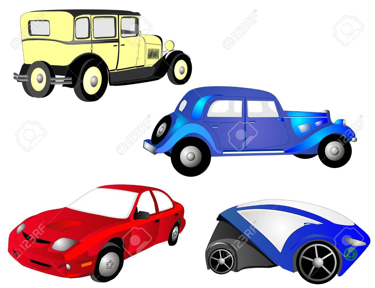 From The Old To The New, Cars, In Red, Blue And Yellow, Grow ...