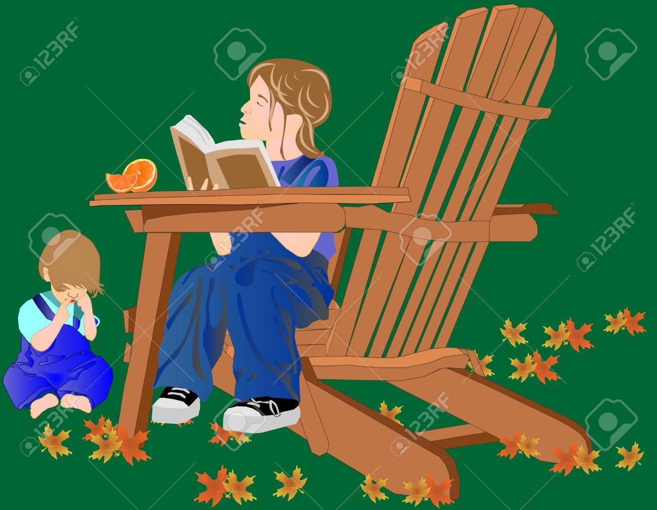 A young girl is reading to her baby brother, while sitting outside, in  a chair in the fall, with an orange to eat.. Stock Vector - 6851916